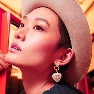 Chanel Heart Drop Crystal Pave Earrings ❤️